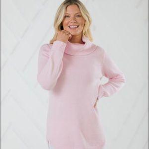 Sail to Sable Pale Pink Long Turtleneck Sweater